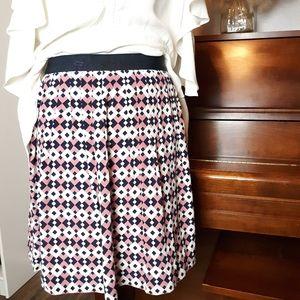 J. Crew geometric silk skirt